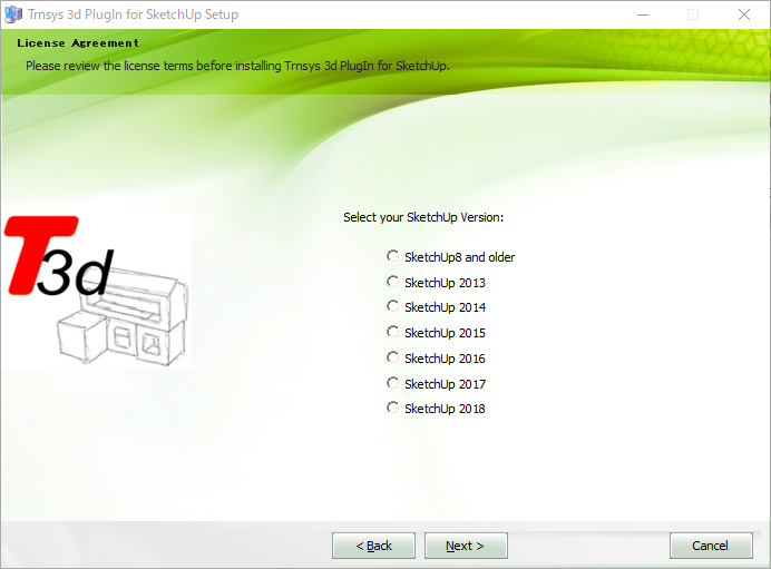 TRNSYS18が対応するSketchUpのバージョン情報